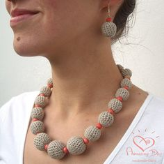 Natural LINEN NECKLACE Custom made Crochet bead by AmazingDay, THIS LISTNG IS JUST FOR TEH NECKLACE. If You like Earrings, Find them here: https://www.etsy.com/listing/111773924/custom-made-contemporary-crochet-bead