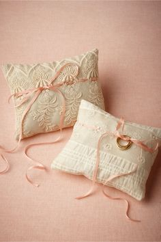 Pedigree Ring Pillow from vintage lace, silk or cotton salvaged from antique wedding dresses and petticoats, at BHLDN $88.00
