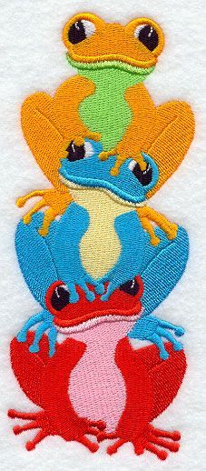 Machine Embroidery Designs at Embroidery Library! - frog trio stack 91516