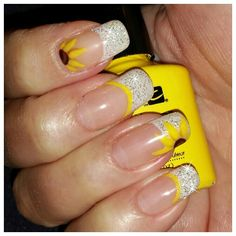 Sunflower nail art french tip- las vegas Nails by megan barre