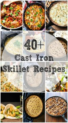 More than 40 Cast Iron Skillet Recipes from Breakfast to Dessert. This list of Cast Iron Skillet recipes continues to grow so bookmark this page or pin it! This post contains affiliate links. Cast Iron Skillet Cooking, Iron Skillet Recipes, Cast Iron Recipes, Skillet Dinners, Cooking With Cast Iron, Skillet Food, Chicken Cast Iron Skillet, Cast Iron Chicken Recipes, Skillet Bread