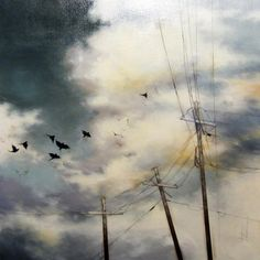 Tammy Shane Canadian Artists, Painting & Drawing, Utility Pole, Clouds, Sky, Night, Drawings, Illustration, Wall