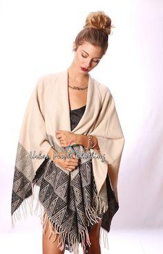 Acrylic Wrap, Swing Regular Size Sweaters for Women Poncho Shawl, Poncho Sweater, Vintage Bohemian, Boho, Navy Shawl, Urban People, Capes & Ponchos, Shawls, Kimono Top