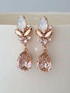 Blush chandelier earrings,Blush Bridal earrings,Morganite earrings,Bridal earrings,Vintage earrings,Swarovski earring,Bridal wedding jewelry by EldorTinaJewelry on Etsy   http://etsy.me/2khIUzY