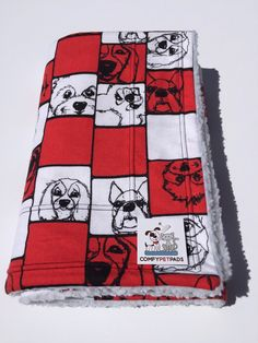 Red Dog Blanket, Kennel Pad, Dog Party, Puppy Bedding, Stroller Cover, Dog Crate Pad, Blanket for Baby, Made in Colorado, Gift for Dogs #PetBlanket #StrollerCover #KennelPad #WheelchairBlanket #DogCratePad #BlanketForBaby #LittleGirlGift #DogParty #PuppyBedding #RedDogBlanket