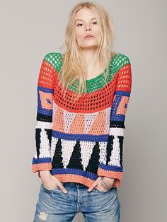 Free People Geo Pattern Pullover, $168.00