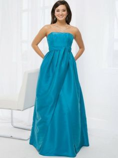 2014 Style A-line Strapless Sleeveless Floor-length TaffetaProm Dresses/Evening Dresses