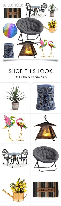 """Outdoor Decor"" by katiephan on Polyvore featuring interior, interiors, interior design, home, home decor, interior decorating, Benzara, ADG Lighting, PBteen and Cartier"