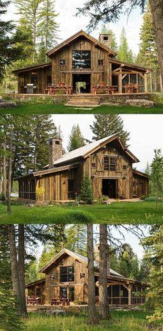 Love the vertical siding Pole Barn House Plans, Pole Barn Homes, Cabin Plans, Shed Homes, Tiny Homes, Barn Living, Log Cabin Homes, Cabins And Cottages, Future House