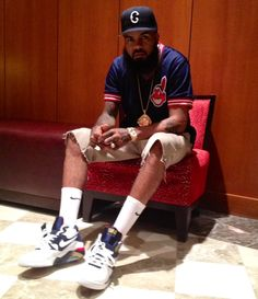 "Stalley in the Nike Air Force 180 ""Olympic"" Celebrity Sneakers 52624754d"