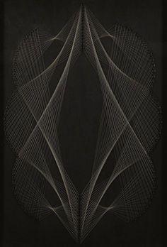 Eugenio Carmi (Genova, 1920 - Lugano, 2016), X Osaka, 1970. Weave of nylon wire and nails on wood,, cm. 67x47.
