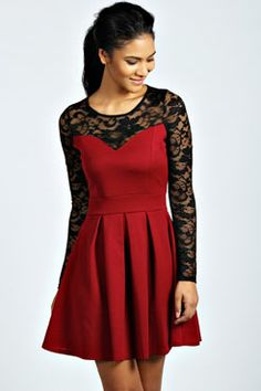 Annabelle Lace Detail Box Pleat Skater Dress at boohoo.com