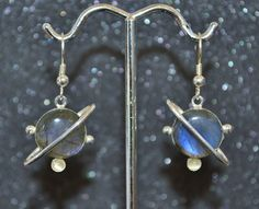 Spectrolite/Labradorite and Moonstone Planetismal Earrings - Choose a Size!