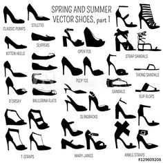 Set of vector women spring and summer shoes isolated on white background Fashion Terminology, Fashion Terms, Fashion Art, Fashion Shoes, Fashion Outfits, Hijab Fashion, Fashion Design Drawings, Fashion Sketches, Fashion Infographic