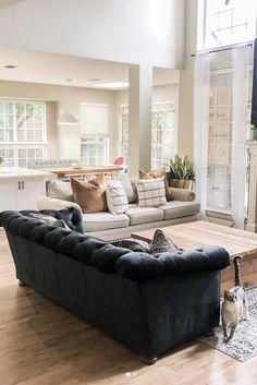 Stylish and inviting open concept living and dining room. A consistent color pal. Living Room Furniture, Living Room Decor, Living Spaces, Dining Room, Black Plaid, Open Concept, Plaid Pattern, My Dream Home, Color Pop