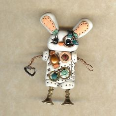 Steampunk Bunny Rabbit Robot Pin/Brooch $22 by freeheart1 of Spokane area, United States @ Etsy