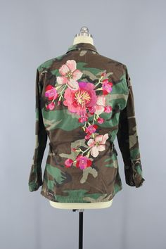 Vintage Army Camouflage Military Jacket with Large Peach Pink Floral Embroidery