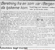 Bergen 9.april 1940 Avis utklipp frå Fylkestidene Sogn og fjordane