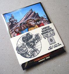 Luces-cámara-monos - paquete postal mono de 8
