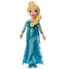 Our Elsa soft toy doll will captivate and excite all Frozen fans! Soft to the touch and exquisitely dressed, Elsa wears her signature glitzy blue gown with a divine snowflake embellished cape. Frozen 1, Frozen Dolls, Disney Plush, Disney Toys, Disney Films, Disney Stuff, Disney On Ice, Disney Frozen, Plush Dolls
