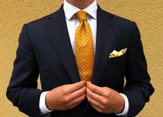 Mens Fashion Stylist NYC, Navy Suit, Yellow Tie, Zegna, Canali, Personal Stylist, Mens Fashion, Couture
