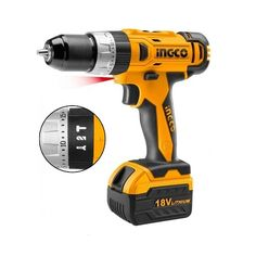 Li-Ion cordless drill  Drill Voltage 18V  With Impact Function  No Load Speed 20000rpm  Two Speed 0 - 400 / 0 - 1350rpm  Max Torque: 30Nm  10mm Keyless Chuck  Compact Gearbox Design  Torque Settings 18+1  With 2pcs Battery Pack  Including 1pcs 2Hr Charger  Charge Volts 220 - 240V 50Hz  With LED Light  LED Battery Power Indicator  Including 13pcs Accessories  1 Year Guarantee