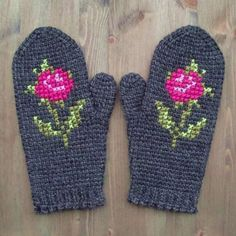 Dark Mittens In Tunisian Crochet With Cross Stitch Rose