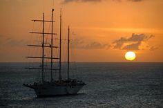 A Caribbean sunset.