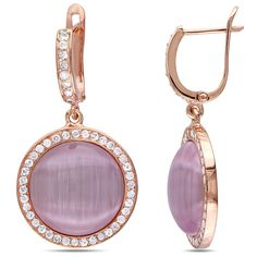 Catherine Catherine Malandrino Light Purple Simulated Cat Eye Cubic Zirconia Dangle Earrings in Rose Plated Sterling Silver, Women's, Size: Large