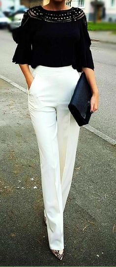 Best Summer Outfit Ideas 55 Work Attire You Will Want To Try Super Chic Fashion Outfits Summer Fashion Casual Outfits 2019 Copy Right Now Mode Chic, Mode Style, Formal Trousers Women, Women's White Trousers, Trouser Pants, Trousers Fashion, Cargo Pants, White Slacks, White Outfits