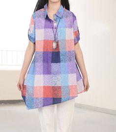 cotton asymmetric long shirt/ Women Plaid shirt by MaLieb on Etsy, $80.00