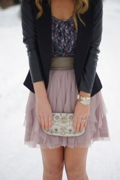 Black blazer, floral top and dusty pink skirt