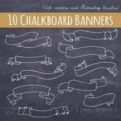 Chalkboard Banners & Ribbons Clip Art // Hand Drawn Chalk // DIY Wedding…
