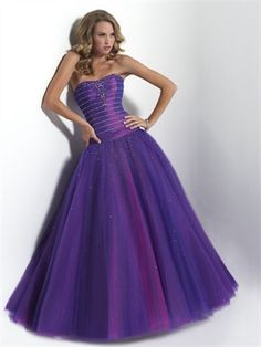 9c1d124430c4 Strapless taffeta and tulle drop-waist ballgown featuring beaded bodice  Prom Dresses CY Beautiful colors!