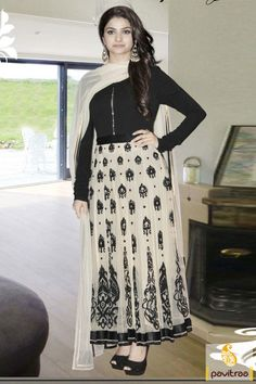 Appear elegant with Prachi Desai off white black anarkali salwar kameez. It is delightful with its frock style having nice butti design and long sleeves.2780/-Rs.
