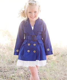 Look at this #zulilyfind! Royal Lace-Trim Trench Dress - Toddler & Girls by Sweet Charlotte #zulilyfinds
