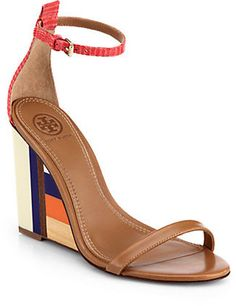 Tory Burch Colorblock Wooden-Wedge Leather Sandals