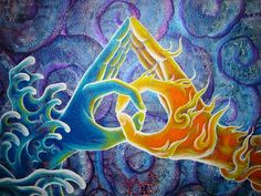Elemental yin and yang.  Unity of the Divine Masculine & Feminine.  Also this symbol has been used at times to represent the Age of Aquarius... Visionary Art of Luke Brown