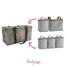 Keep things cool and organized with thirty one! Double and single thermal organizers fit in the large utility tote. Thirty One Bags, Thirty One Gifts, Tote Purse, Purse Wallet, Large Utility Tote, Thirty One Consultant, 31 Gifts, Tote Organization, Pack Your Bags
