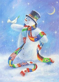 *Snowman by Sarah Summers artist - Merry Christmas - No pin limits on my boards. Happy Holidays! ⛄