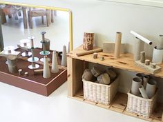 Lovely storage and provocation to design with loose parts.