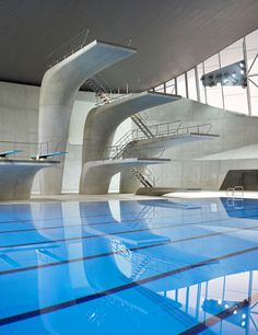 construction for the 'london aquatics centre' for the london 2012 summer olympics by zaha hadid architects is now complete.