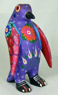 OAXACAN wood carving PENGUIN by ROBERTA ANGELES - OAXACA