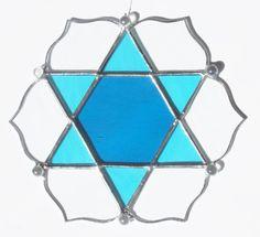 Star of David Lotus Mandala Stained Glass by GlassAdornedStudio