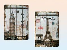 shabby paris | Holzbild Holztafel XL Paris und London im Retro Vintage Shabby Look 57 ...