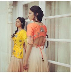 The top is longer in the front and short in the back; lengha