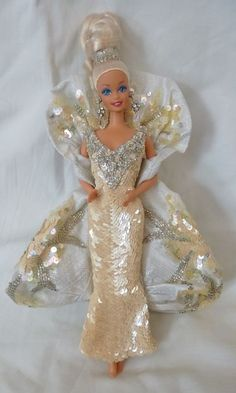 Platinum barbie 3rd in series 1991 bob mackie w shipper #Mattel #Dolls