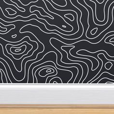 Shop the world's largest marketplace of independent surface designers - Spoonflower Wallpaper Doodle, Pattern Wallpaper, Monochrome Pattern, Perfect Wallpaper, Black And White Design, Wall Patterns, Custom Wallpaper, Textured Walls, Wall Design