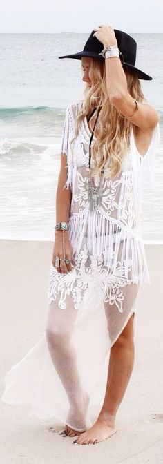 Bambi Collective Ivory Lace Side Splited Sheer Beach Maxi Dress