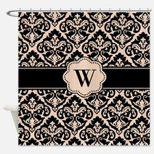 Black Tan Damask Monogram Shower Curtain for